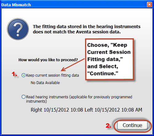 Screen shot 1 data mismatch message