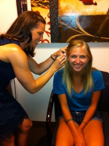 Jordyn being fit by Erin Fine at North Valley ENT.