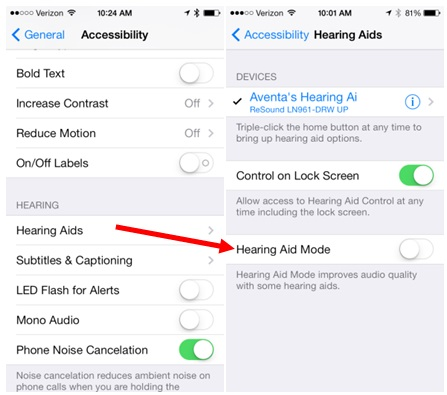 Iphone  Hearing Aid Mode