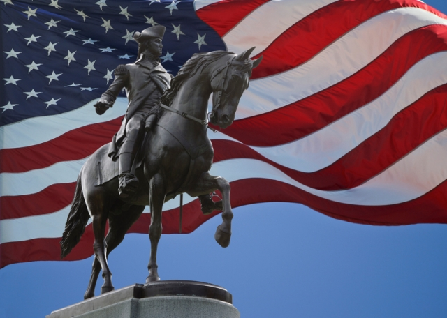 George Washington Statue and US Flag