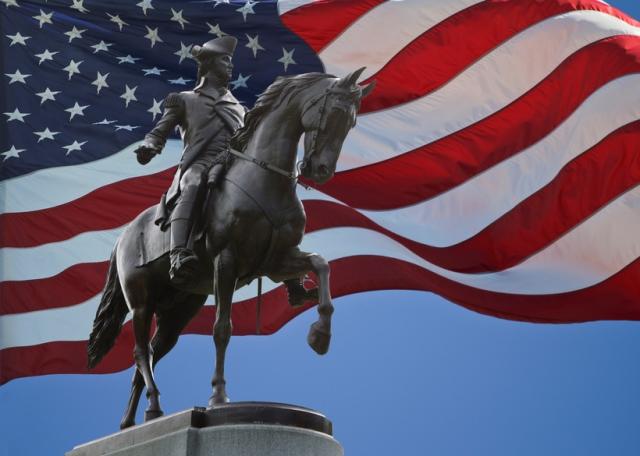 George Washington Statue and US Flag